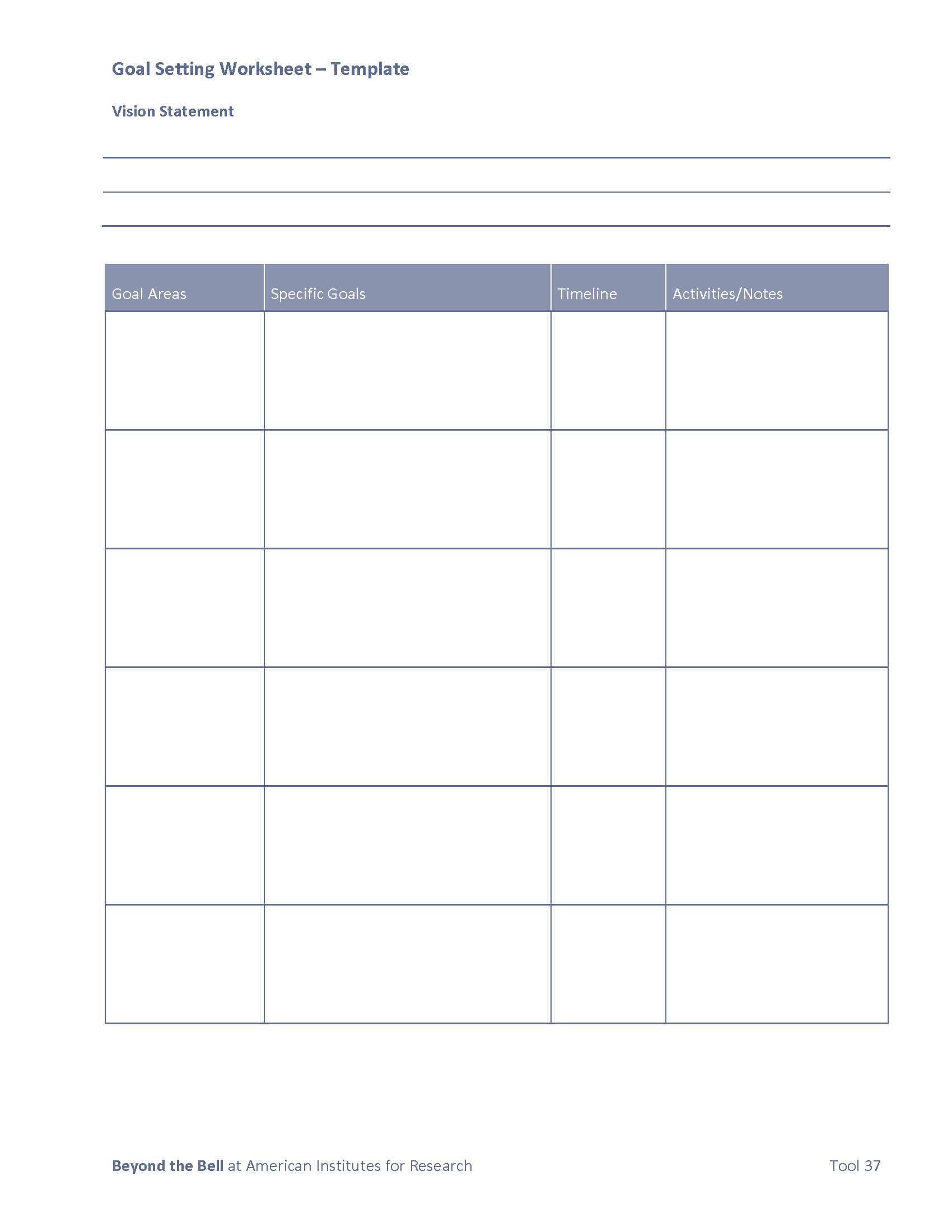 Beyond the Bell | Tool 37 - Goal Setting Worksheet 2